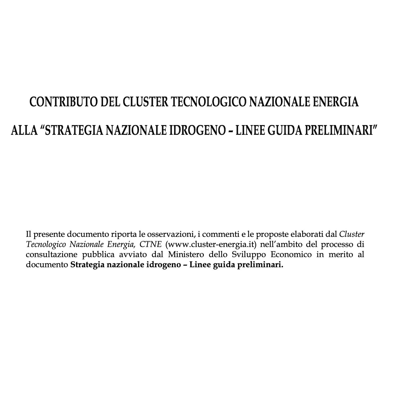 Contributo CTNE alla Strategia Nazionale Idrogeno