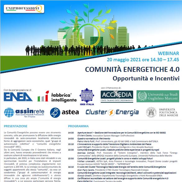 20 maggio – Webinar – Comunità Energetiche 4.0 – Opportunità e Incentivi