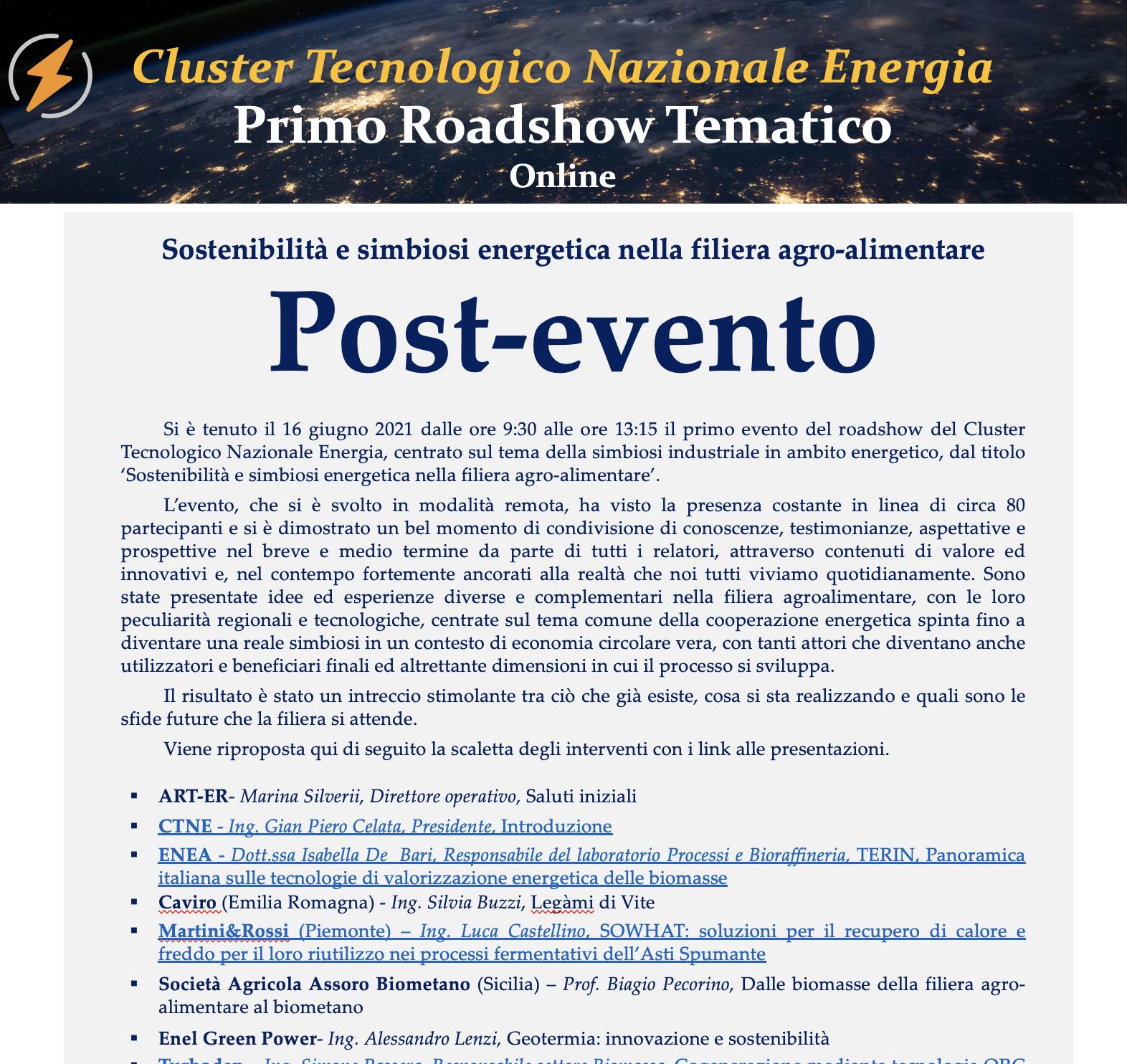 Follow-up evento Sostenibilità e simbiosi energetica nella filiera agroalimentare del 16 giugno 2021