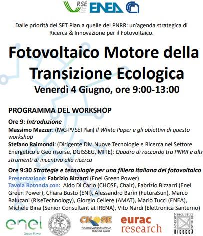 Annuncio Workshop Fotovoltaico il 04 giugno 2021 alle ore 9:00