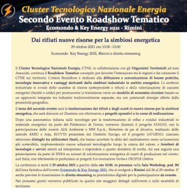 Roadshow CTNE – Dai rifiuti nuove risorse per la simbiosi energetica – Rimini 29 ottobre 2021